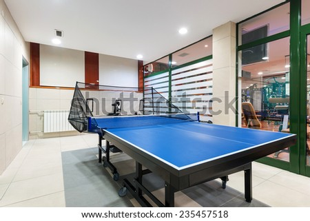Entertainment room with tennis table - stock photo