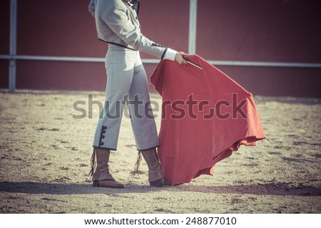 Entertainment, spectacle of bullfighting, where a bull fighting a bullfighter Spanish tradition - stock photo