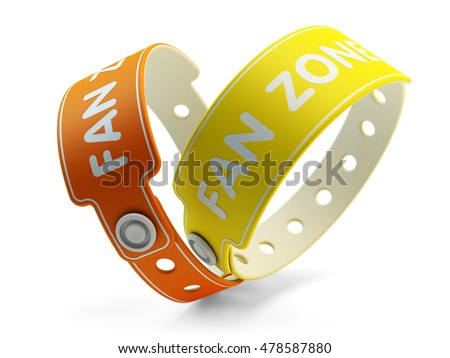 Entertainment wristbands, rubber band as access to the event, fan zone bracelets isolated on white, 3d illustration