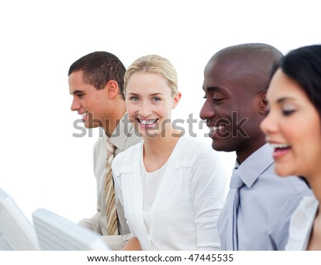 Enthusiastic business team working in the office against a white background
