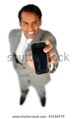 Enthusiastic businessman showing a mobile phone isolated on a white background - stock photo
