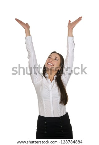 enthusiastic businesswoman cheering, white background