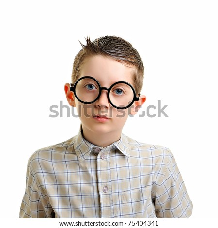 enthusiastic, cute and geeky schoolboy- isolated on white - stock photo
