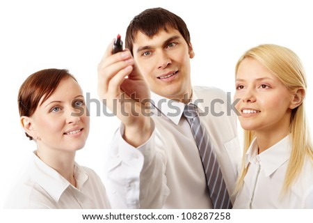 Enthusiastic group of business people developing new strategy - stock photo