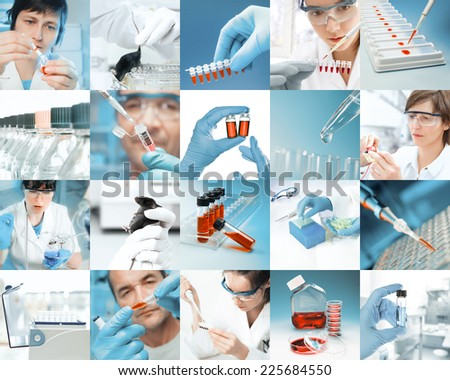 Enthusiastic scientists work in modern biological facility, picture set