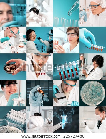 Enthusiastic scientists work in modern biological facility, picture set - stock photo