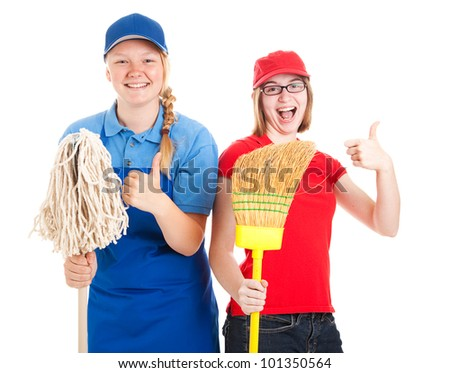 Enthusiastic teenage workers with their first jobs, giving thumbs up.  Isolated on white - stock photo
