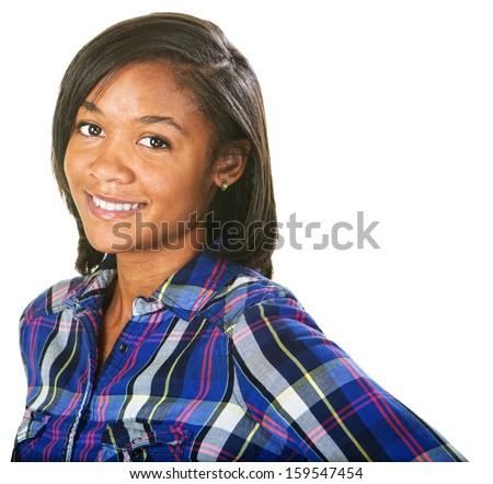 Enthusiastic young Black female on isolated background - stock photo