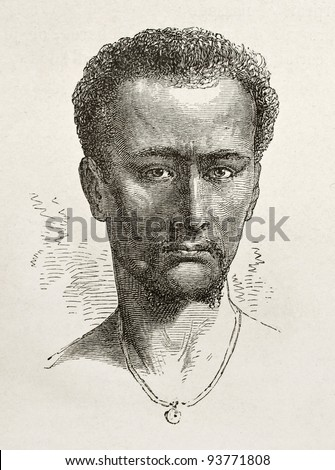 Enticho peasant old engraved portrait (Abyssinia). Created by Bayard after Lejean, published on Le Tour du Monde, Paris, 1867