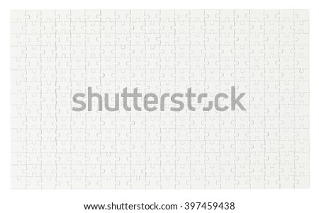 Entire Complete White Puzzle with Copy Space Isolated on White Background. - stock photo