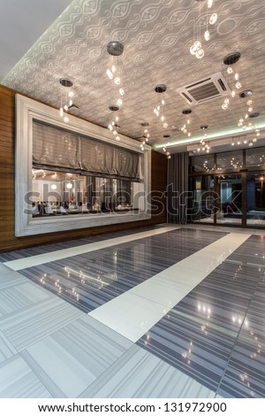 entrance and big window of a restaurant - stock photo