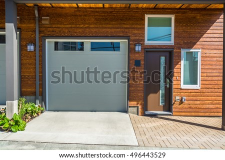 Entrance Garage Doors Brand New Townhouse Stock Photo Edit Now