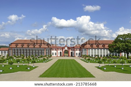 Entrance area and building Orangery of Seehof Palace and Park - the summer residence of the prince-bishops of Bamberg, Upper Franconia, Bavaria, Germany. - stock photo