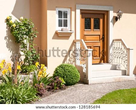 entrance at a new villa - stock photo