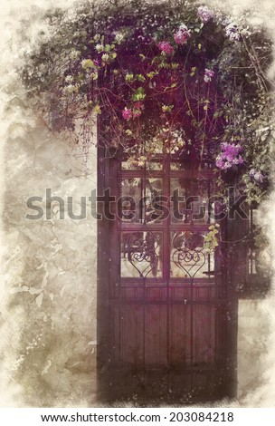 Entrance door and a rose bush. Imitation ancient style. Vintage card