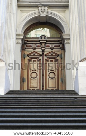 Entrance door from the City Hall in New York City - stock photo