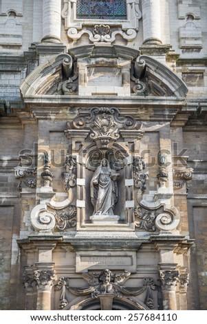 Entrance door in Church of Saint John the Baptist  in Brussels - stock photo