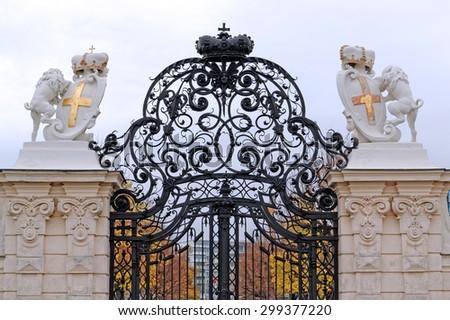 Entrance door of a historic castle in Vienna, Austria.  - stock photo