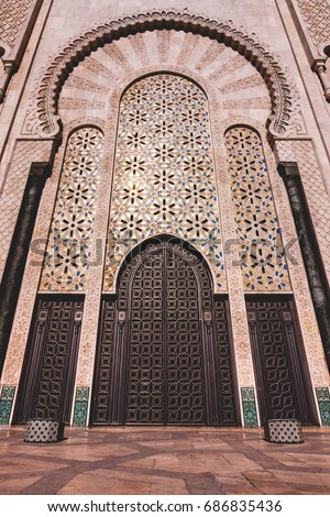 Entrance Door Of Mosque Hassan II Building, Casablanca, Morocco.