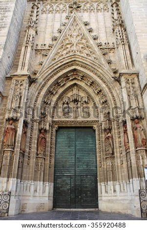 Entrance door of Sevilla Cathedral. Sevilla, Spain - stock photo