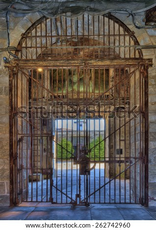 Entrance Gate at Eastern State Penitentiary, Philadelphia, Pennsylvania - stock photo