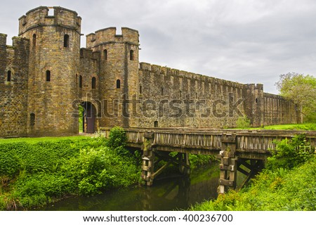 Entrance Gate to Cardiff Castle in Cardiff in Wales of the United Kingdom. Cardiff is the capital of Wales.  - stock photo