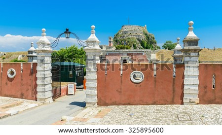 Entrance gates to the Old Fortress of Corfu, Greece. - stock photo