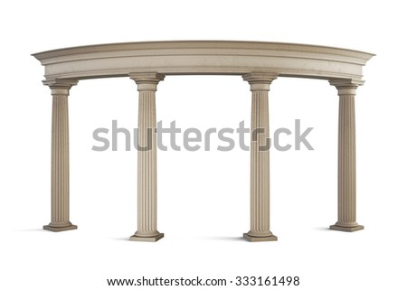 Entrance group in classic style on a white background. 3d illustration.