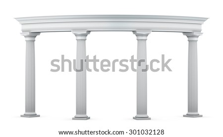Entrance group with columns in the classical style on a white. 3d illustration.