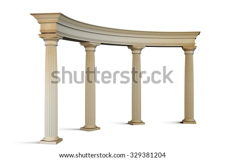 Entrance group with columns in the classical style on a white. 3d render image. - stock photo