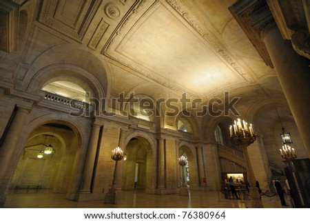 Entrance hall at the New York City Library.