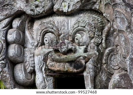 Entrance in Goa Gajah cave temple , Ubud, Bali, Indonesia. - stock photo