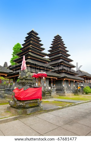 Entrance in temple, decorated to holiday. Indonesia, island of Bali. - stock photo