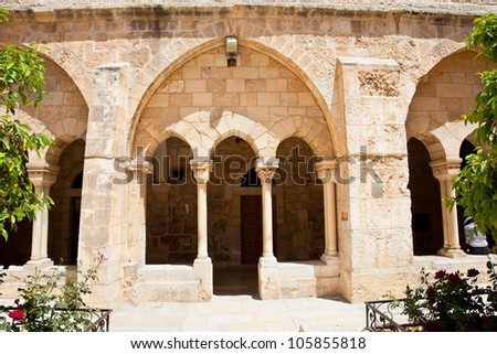 Entrance inf the gallery of the Church of Nativity, Bethlehem. Palestine, Israel - stock photo