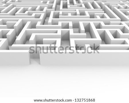 Entrance into the white maze. 3D illustration. - stock photo
