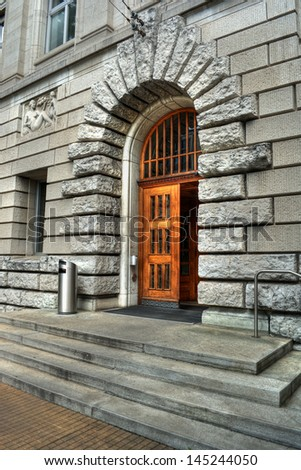 Entrance of a building of the Swiss Federal Institute Of Technology, high dynamic range