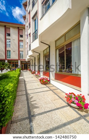 Entrance of a hotel. - stock photo