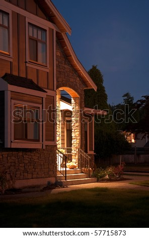 Entrance of a house at night in Vancouver, Canada.