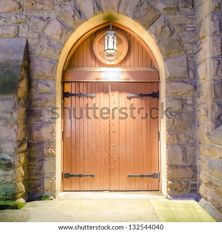 Entrance of a house, building or castle.