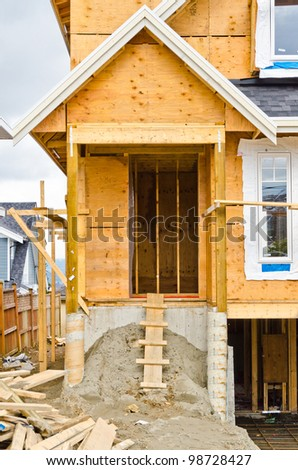 Entrance of a house under construction in Vancouver, Canada.