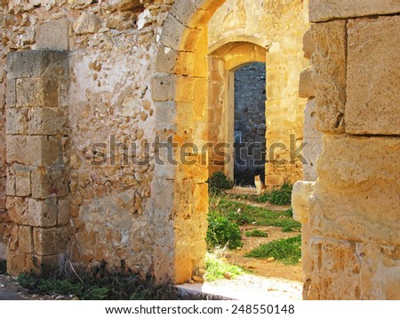 Entrance of an ancient building                                - stock photo