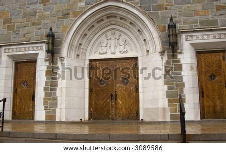 Entrance of an orthodox church - concept of welcome to Gold