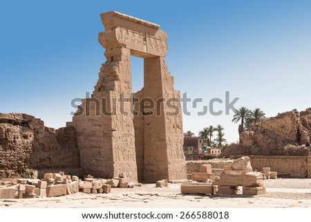 Entrance Of Ancient Egyptian Dendera Temple Egypt - stock photo