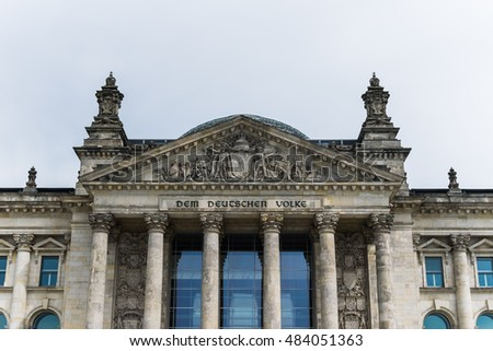 Entrance of Berlin Reichstag German House of Parliament