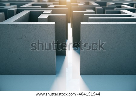 Entrance of concrete labyrinth. 3D Rendering - stock photo
