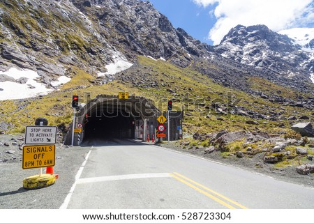 Entrance of Homer tunnel on Milford Sound Highway, Fiordland national park, South Island, New Zealand.