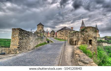 Entrance of Kamianets-Podilskyi Castle. Ukraine. HDR image - stock photo