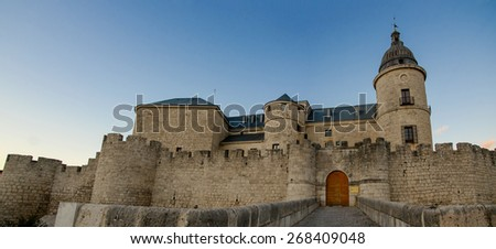 Entrance of Simancas Castle in Valladolid, Castile and LEon, Spain - stock photo