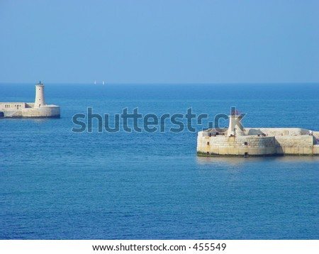 Entrance of the harbor of valletta, Malta - stock photo