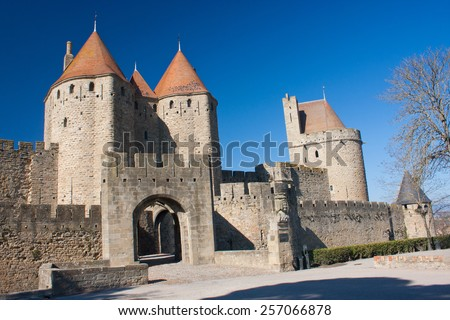 Entrance of the medieval town of Carcassonne in France - stock photo